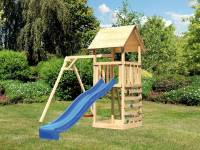 Akubi Spielturm Lotti mit Einzelschaukel, Kletterwand und Rutsche blau