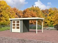 Karibu Aktions-Gartenhaus Jever 2 terragrau mit Anbaudach 2,40 Meter und Fußboden