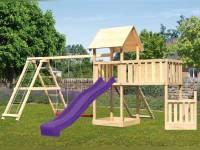 Akubi Spielturm Lotti + Schiffsanbau unten + Anbauplattform XL + Doppelschaukel mit Klettergerüst + Netzrampe + Rutsche violett