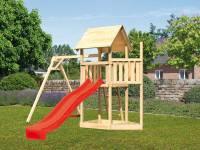Akubi Spielturm Lotti Satteldach + Schiffsanbau oben + Einzelschaukel + Rutsche in rot