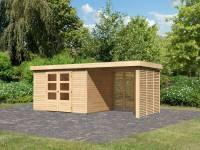 Karibu Woodfeeling Gartenhaus Askola 5 mit Anbaudach 2,4 m, Lamellenwänden