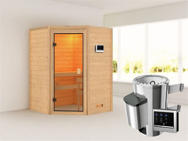 Karibu Sauna Antonia mit 3,6 kW Ofen ext. Strg ohne Dachkranz 38 mm