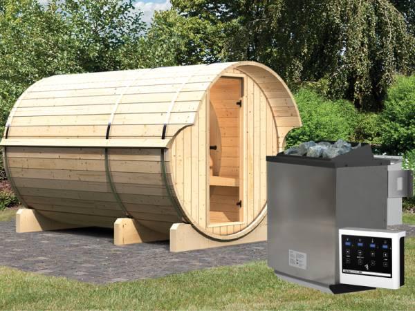 Karibu Fass - Sauna 3 42 mm inkl. 9-kW-Bioofen - Saunahaus