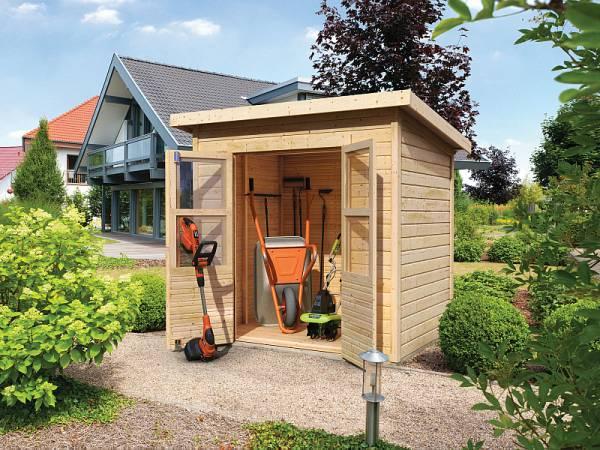 Karibu Gerätehaus Merseburg 3 natur 14 mm