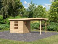 Karibu Woodfeeling Gartenhaus Oburg 3 natur mit Anbaudach 2,8 Meter