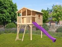 Akubi Stelzenhaus Benjamin natur mit Netzrampe und Rutsche in violett
