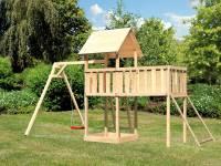 Akubi Spielturm Lotti Satteldach + Einzelschaukel + Anbauplattform XL + Netzrampe