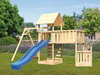 Akubi Spielturm Lotti + Schiffsanbau unten + Anbauplattform XL + Kletterwand + Einzelschaukel + Rutsche blau