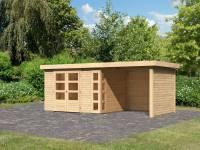 Karibu Woodfeeling Gartenhaus Kerko 5 natur mit Anbaudach 2,40 m inkl. Seiten- und Rückwand