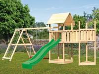 Akubi Spielturm Lotti Satteldach + Schiffsanbau oben + Anbauplattform + Doppelschaukel mit Klettergerüst + Rutsche in grün