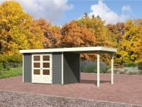 Karibu Aktions Gartenhaus Jever 4 terragrau mit Anbaudach 2,40 Meter