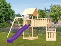 Akubi Spielturm Lotti + Schiffsanbau unten + Anbauplattform XL + Einzelschaukel + Rutsche violett