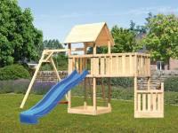 Akubi Spielturm Lotti + Schiffsanbau unten + Anbauplattform XL + Einzelschaukel + Rutsche blau