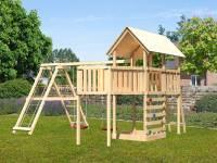 Akubi Spielturm Danny Satteldach + Doppelschaukelanbau Klettergerüst + Anbauplattform XL + Kletterwand