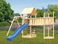 Akubi Spielturm Lotti Satteldach + Schiffsanbau oben + Einzelschaukel + Anbauplattform XL + Kletterwand + Rutsche in blau