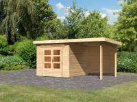 Karibu Woodfeeling Gartenhaus Kandern 3 mit Anbaudach 3,2 Meter inkl. Rückwand