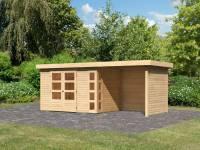 Karibu Woodfeeling Gartenhaus Kerko 4 natur mit Anbaudach 2,40 m und Rück-und Seitenwand