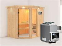 Fiona 1 - Karibu Sauna inkl. 9-kW-Ofen - mit Dachkranz -