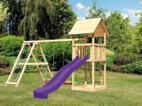 Akubi Spielturm Lotti mit Rutsche in violett und Doppelschaukel inkl. Klettergerüst