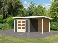 Karibu Woodfeeling Gartenhaus Kandern 6 in terragrau mit Anbaudach 2,6 Meter inkl. Rückwand