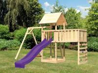 Akubi Spielturm Lotti Satteldach + Rutsche violett + Einzelschaukel + Anbauplattform XL + Kletterwand