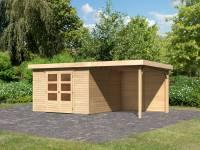 Karibu Woodfeeling Gartenhaus Askola 6 natur mit Anbaudach 2,4 Meter - Rückwand