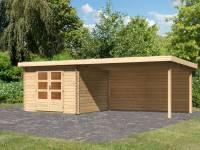 Karibu Woodfeeling Gartenhaus Bastrup 5 mit Anbaudach 4 Meter inkl. Rückwand