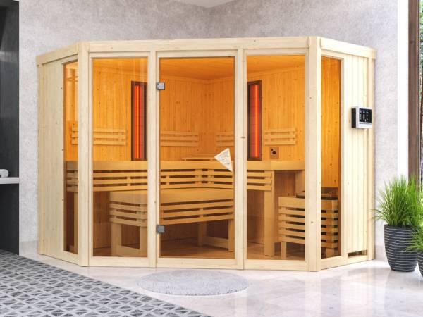 Karibu Multifunktions-Sauna Asta mit 9 kW Ofen und Infrarotstrahler