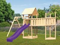 Akubi Spielturm Lotti Satteldach + Schiffsanbau oben + Einzelschaukel + Anbauplattform XL + Rutsche in violett
