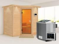 Sahib 1 - Karibu Sauna inkl. 9-kW-Bioofen - mit Dachkranz -