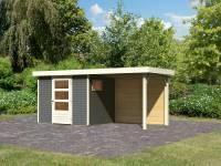 Karibu Woodfeeling Gartenhaus Oburg 3 terragrau mit Anbaudach 2,4 Meter inkl. Rückwand