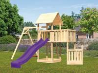 Akubi Spielturm Lotti + Schiffsanbau unten + Anbauplattform + Einzelschaukel + Rutsche violett