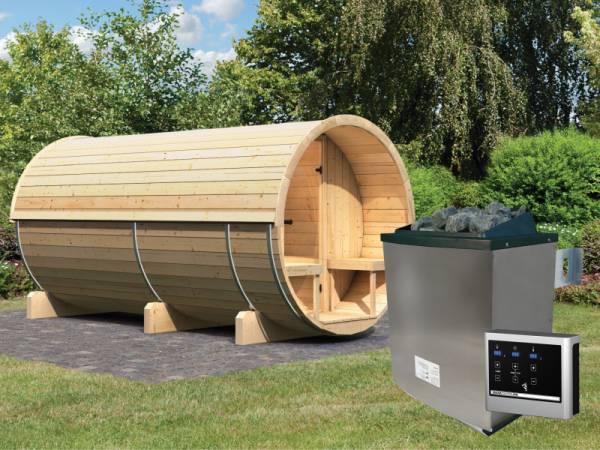Karibu Fass - Sauna 4 42 mm inkl. 9-kW-Ofen - Saunahaus