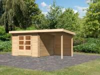 Karibu Woodfeeling Gartenhaus Bastrup 5 mit Anbaudach 2 Meter inkl. Rückwand