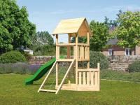 Akubi Spielturm Lotti + Schiffsanbau unten + Netzrampe + Rutsche grün
