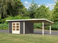 Karibu Gartenhaus Northeim 3 in terragrau mit Anbaudach 3 Meter