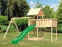 Akubi Spielturm Lotti natur mit Anbauplattform XL, Doppelschaukel und Rutsche grün