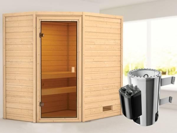 Karibu Woodfeeling Sauna Jella mit 3,6 kW Ofen integr. Strg 38 mm