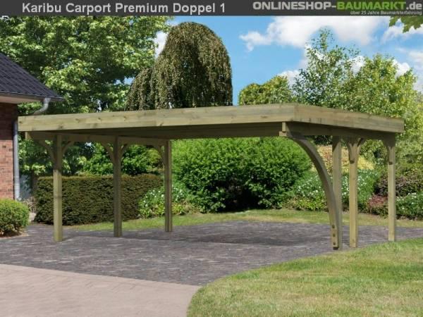 Karibu Carport Premium Doppel 1 mit 1 Einfahrtsbogen kdi