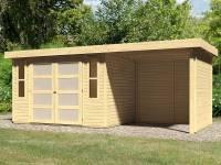 Karibu Gartenhaus Mühlendorf 4 natur 19 mm mit Anbaudach 2,20 m, Seiten- und Rückwand