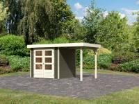 Karibu Woodfeeling Gartenhaus Askola 2 terragrau mit Anbaudach 1,50 Meter