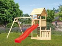 Akubi Spielturm Lotti + Schiffsanbau unten + Doppelschaukel + Kletterwand + Rutsche in rot