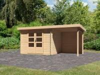 Karibu Woodfeeling Gartenhaus Bastrup 3 mit Anbaudach 2 Meter inkl. Rückwand